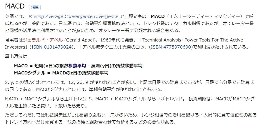 MACDウィキペディアより