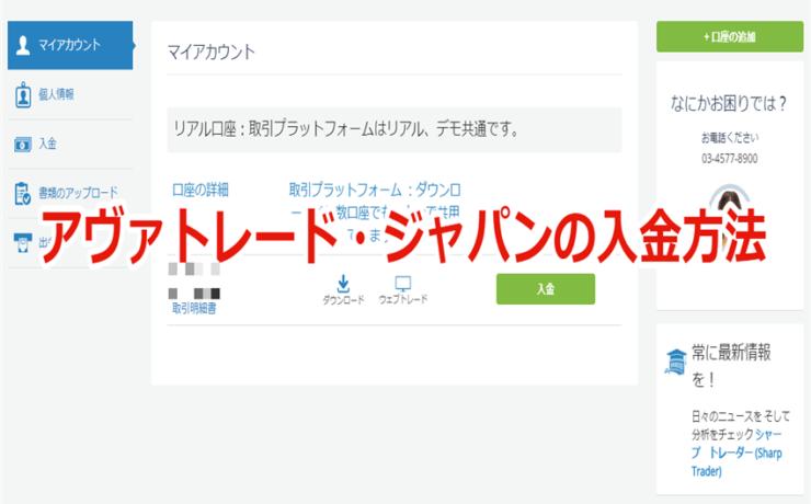 アヴァトレード・ジャパンの入金方法