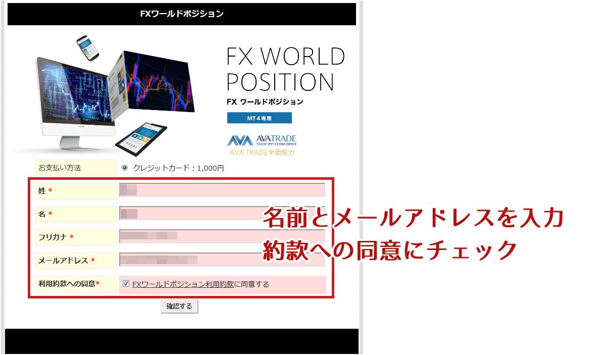 FXワールドポジションの申込情報入力ページ