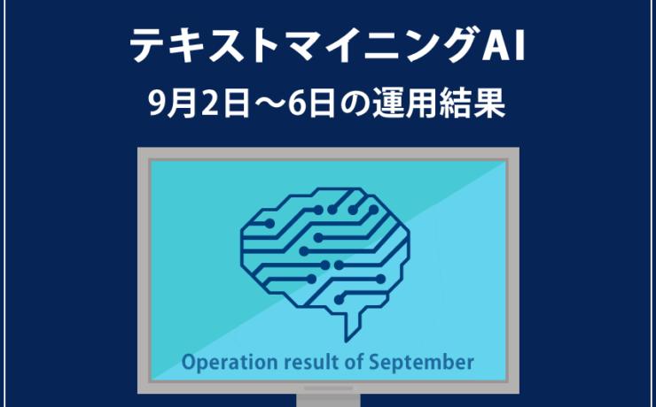 みんなのシストレ「テキストマイニングAI」の9月6日までの結果