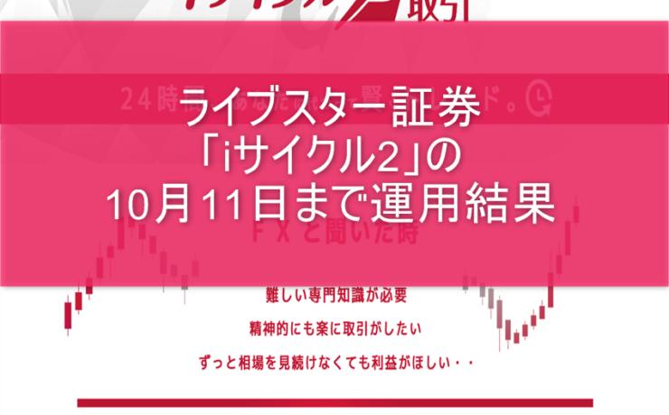 ライブスター証券「iサイクル2」の10月11日まで運用結果