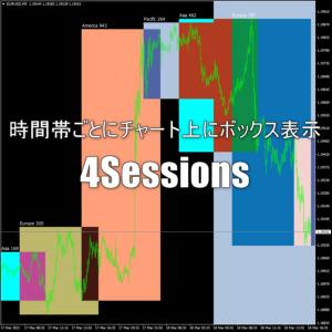 時間帯ごとにチャート上にボックス表示できるインジケーター「4Sessions」